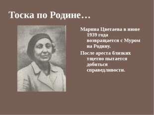 Тоска по Родине… Марина Цветаева в июне 1939 года возвращается с Муром на Род