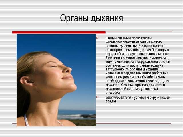 Органы дыхания Самым главным показателем жизнеспособности человека можно назв...