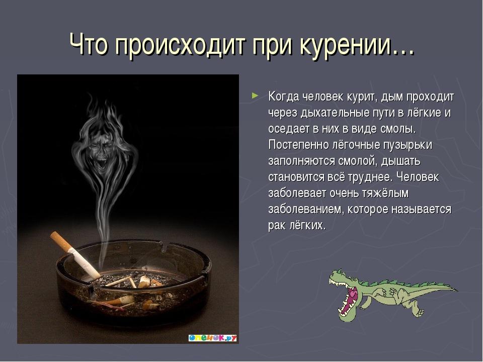 Что происходит при курении… Когда человек курит, дым проходит через дыхательн...