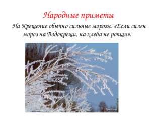 Народные приметы На Крещение обычно сильные морозы. «Если силен мороз на Водо