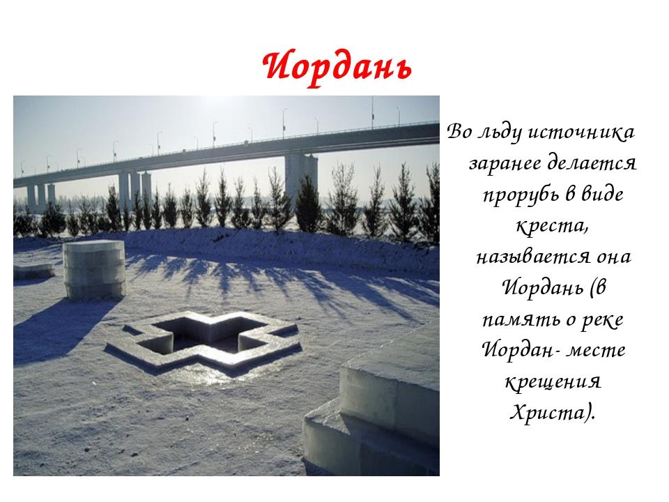 Иордань Во льду источника заранее делается прорубь в виде креста, называется...