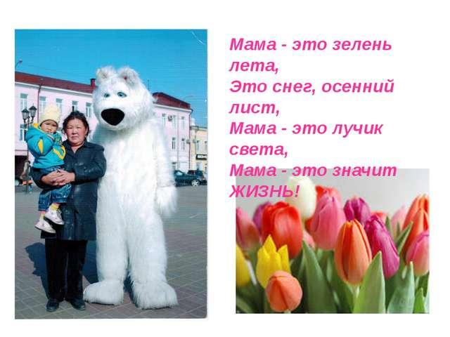 Мама - это зелень лета, Это снег, осенний лист, Мама - это лучик света, Мама...