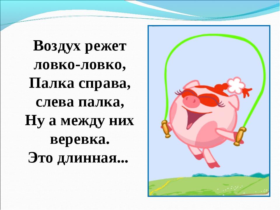 Воздух режет ловко-ловко, Палка справа, слева палка, Ну а между них веревка....