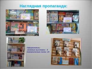 Наглядная пропаганда: Оформлялись: книжные выставки - 8 тематические полки -20