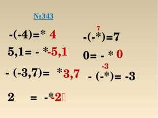 -(-4)=* 4 5,1= - * -5,1 - (-3,7)= * 3,7 2⅗ = -* -2⅗ №343 -(-*)=7 7 0= - * 0 -