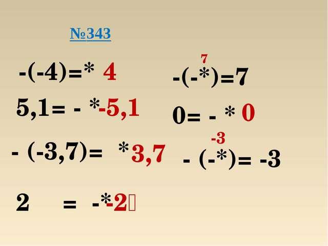 -(-4)=* 4 5,1= - * -5,1 - (-3,7)= * 3,7 2⅗ = -* -2⅗ №343 -(-*)=7 7 0= - * 0 -...