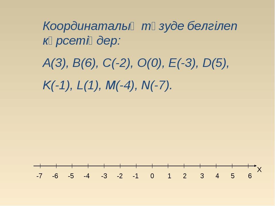 Координаталық түзуде белгілеп көрсетіңдер: A(3), B(6), C(-2), O(0), E(-3), D(...
