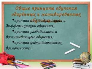 Общие принципы обучения одарённых и мотивированных обучающихся: принцип индив