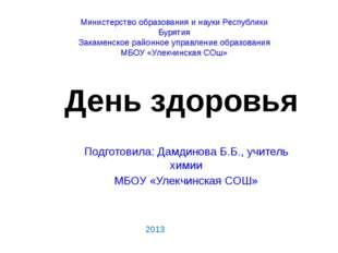 Подготовила: Дамдинова Б.Б., учитель химии МБОУ «Улекчинская СОШ» 2013 Минист