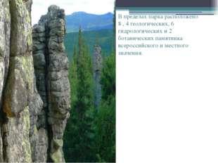 В пределах парка расположено 8 , 4 геологических, 6 гидрологических и 2 бота