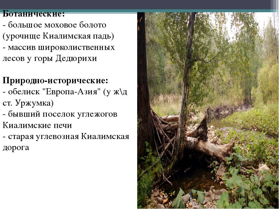Ботанические: - большое моховое болото (урочище Киалимская падь) - массив шир...