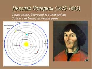 Николай Коперник (1473-1543) Создал модель Вселенной, где центром было Солнце