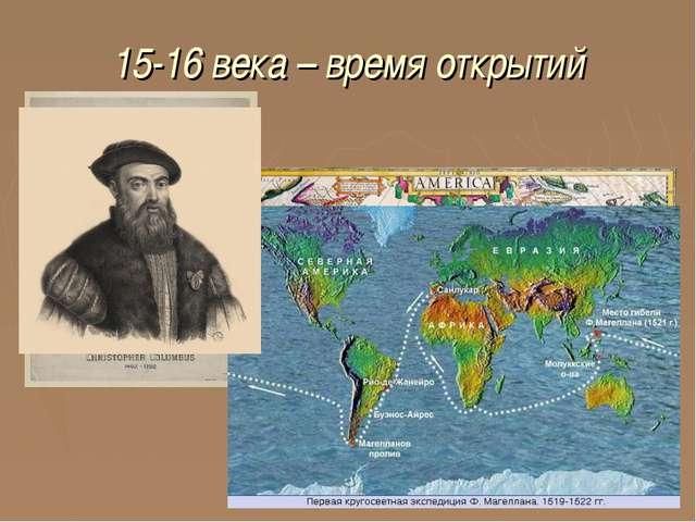 15-16 века – время открытий