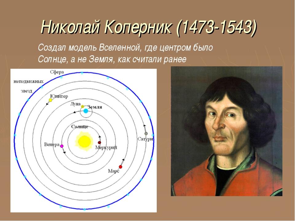 Николай Коперник (1473-1543) Создал модель Вселенной, где центром было Солнце...