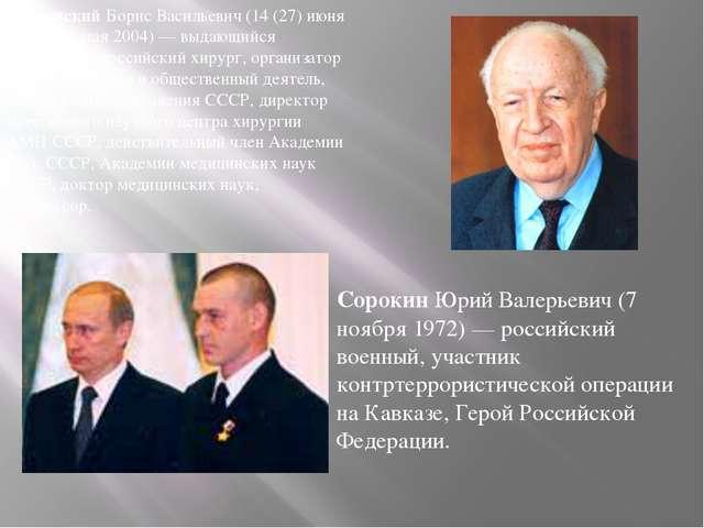 ПетровскийБорис Васильевич (14 (27) июня 1908 — 4 мая 2004) — выдающийся сов...