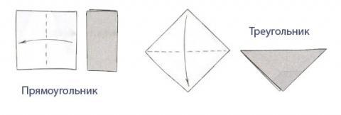 Базовые формы оригами: треугольник и прямоугольник