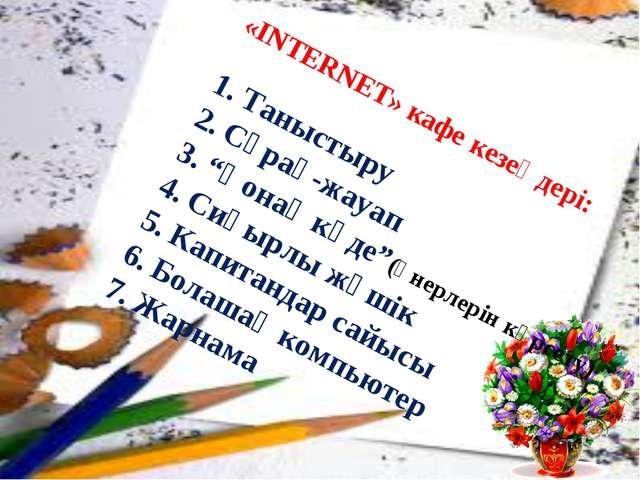 """«INTERNET» кафе кезеңдері: 1. Таныстыру 2. Сұрақ-жауап 3. """"Қонақ кәде""""(өне..."""