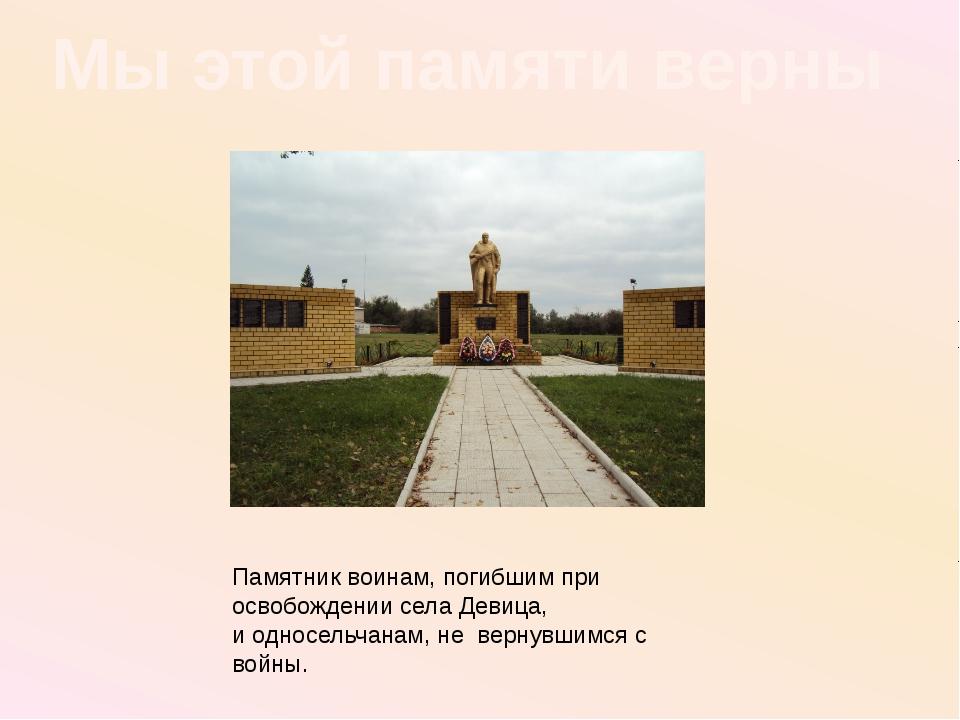 Мы этой памяти верны Памятник воинам, погибшим при освобождении села Девица,...