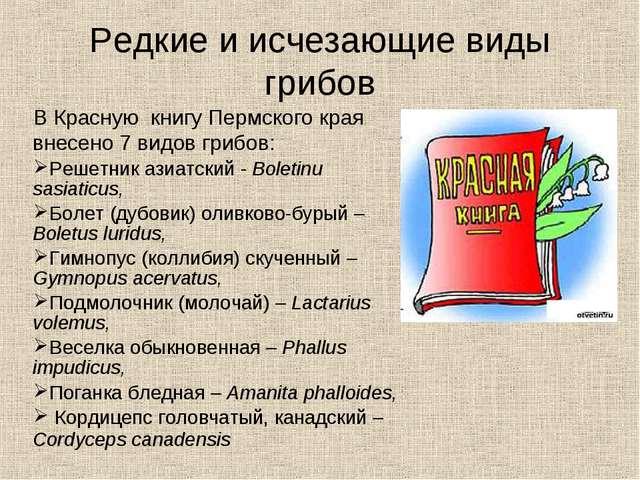 Редкие и исчезающие виды грибов В Красную книгу Пермского края внесено 7 видо...