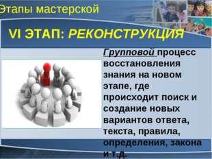 Этапы мастерской VI ЭТАП: РЕКОНСТРУКЦИЯ Групповой процесс восстановления знан