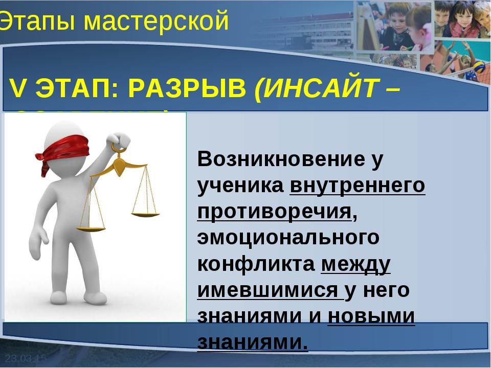 Этапы мастерской V ЭТАП: РАЗРЫВ (ИНСАЙТ – ОЗАРЕНИЕ) Возникновение у ученика в...