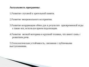 Актуальность программы: 1.Развитие слуховой и зрительной памяти. 2.Развитие э