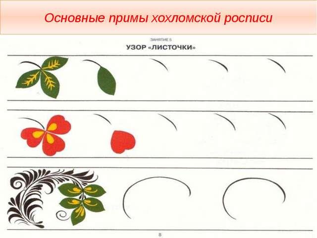 Основные примы хохломской росписи