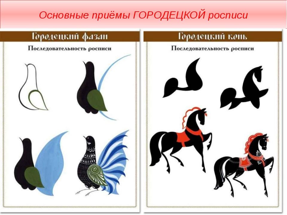 Основные приёмы ГОРОДЕЦКОЙ росписи