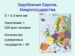 Зарубежная Европа. Микрогосударства S = 5,4 млн км2 Население = 520 млн челов