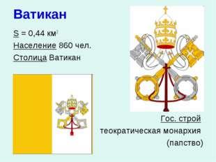 Ватикан S = 0,44 км2 Население 860 чел. Столица Ватикан  Гос. строй тео