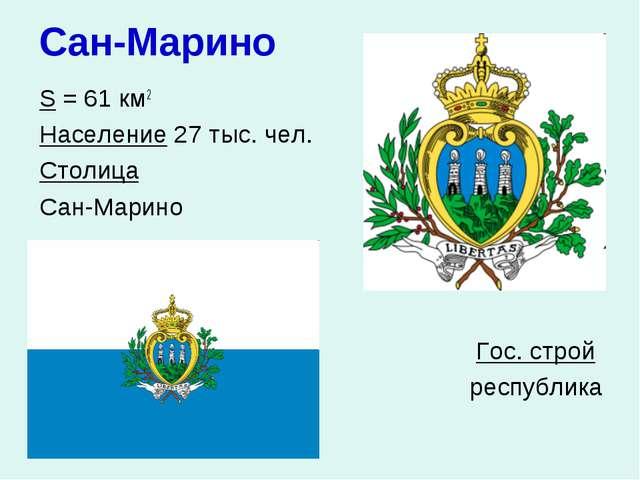 Сан-Марино S = 61 км2 Население 27 тыс. чел. Столица Сан-Марино  Гос. с...