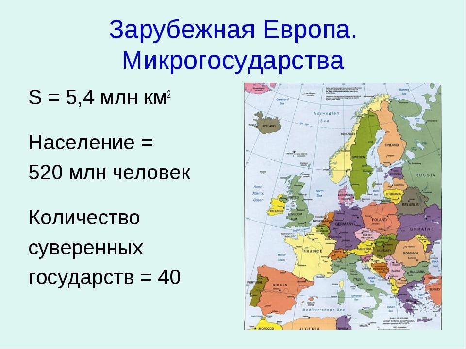 Зарубежная Европа. Микрогосударства S = 5,4 млн км2 Население = 520 млн челов...