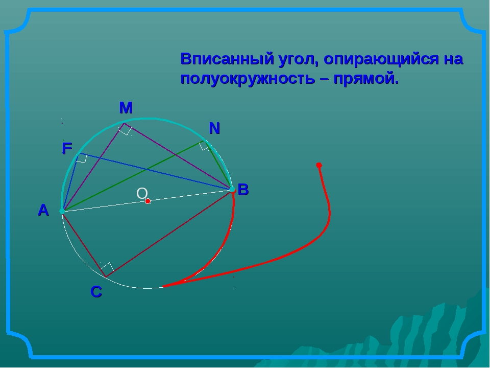 О Вписанный угол, опирающийся на полуокружность – прямой. В А С