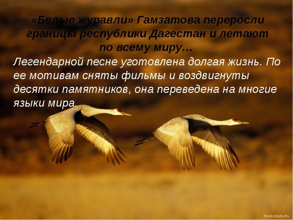 «Белые журавли» Гамзатова переросли границы республики Дагестан и летают по в...
