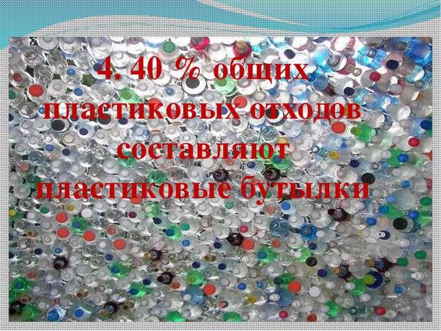 4. 40 % общих пластиковых отходов составляют пластиковые бутылки