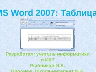 MS Word 2007: Таблица. Разработал: учитель информатики и ИКТ Рыбников И.А. Во