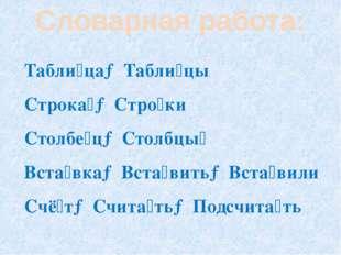 Словарная работа: Табли́ца→Табли́цы Строка́→Стро́ки Столбе́ц→Столбцы́ Вста́вк