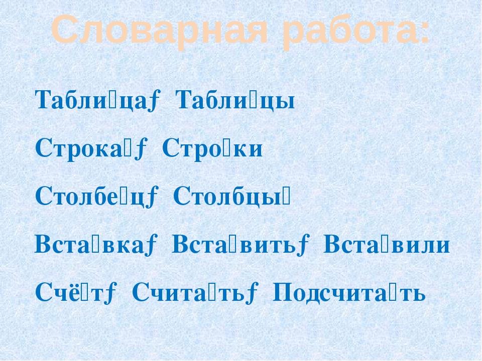 Словарная работа: Табли́ца→Табли́цы Строка́→Стро́ки Столбе́ц→Столбцы́ Вста́вк...