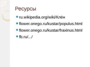 Ресурсы ru.wikipedia.org/wiki/Клён flower.onego.ru/kustar/populus.html flower