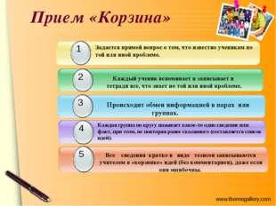 Прием «Корзина» Каждый ученик вспоминает и записывает в тетради все, что знае