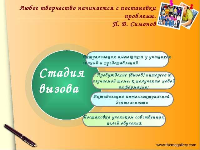 Любое творчество начинается с постановки проблемы. П. В. Симонов Актуализаци...