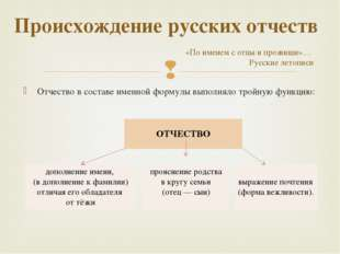 Отчество в составе именной формулы выполняло тройную функцию: Происхождение р
