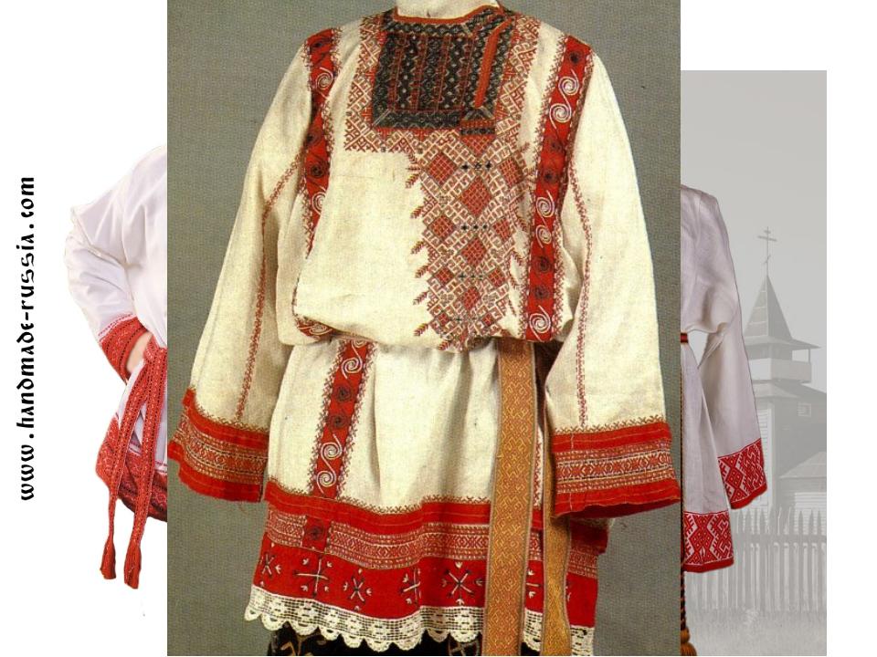 Мужской костюм Рубаха-косоворотка Порты Лыковые лапти Сапоги пояс