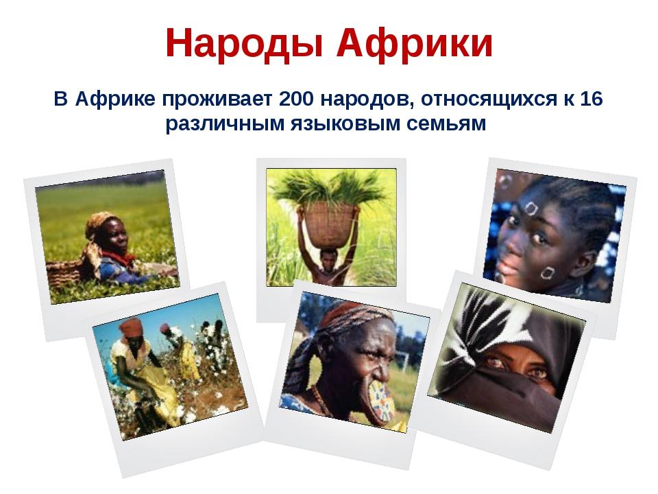 Народы Африки В Африке проживает 200 народов, относящихся к 16 различным язык...