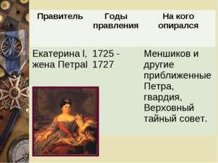 ПравительГоды правленияНа кого опирался Екатерина l, жена ПетраI1725 - 172