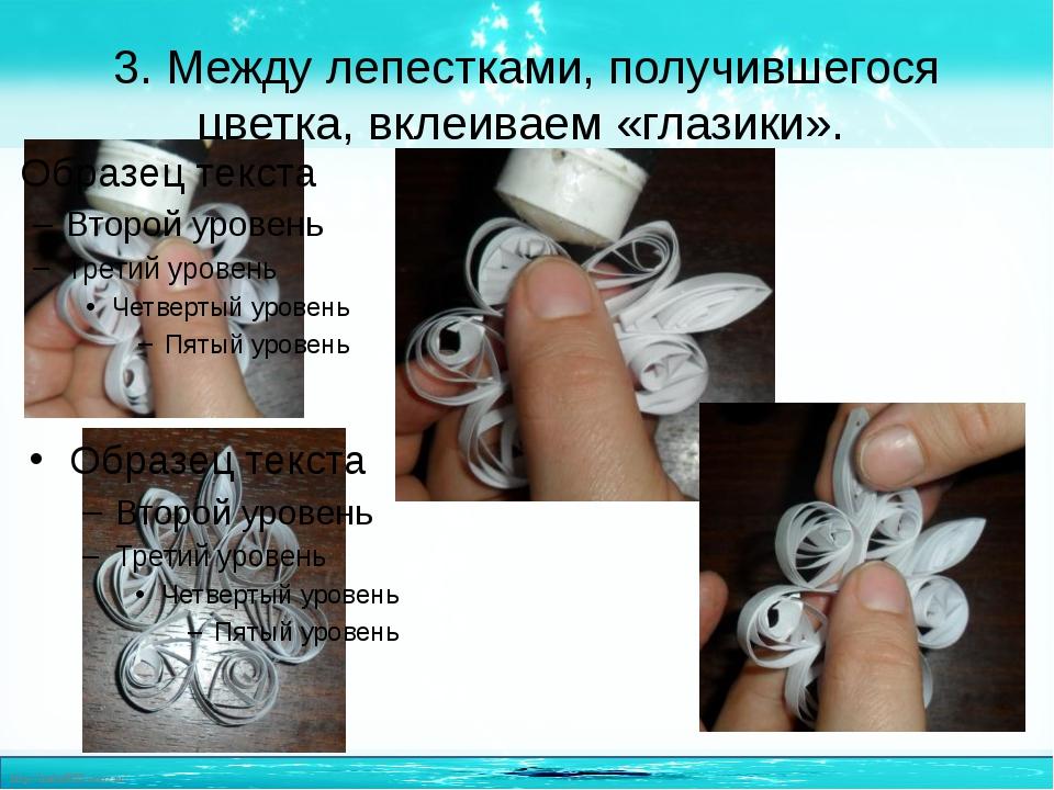 3. Между лепестками, получившегося цветка, вклеиваем «глазики». http://linda6...