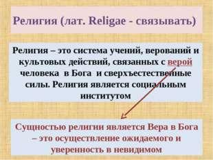 Религия (лат. Religae - связывать) Религия – это система учений, верований и