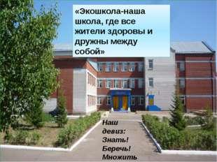«Экошкола-наша школа, где все жители здоровы и дружны между собой» Наш девиз: