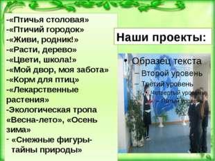 -«Птичья столовая» -«Птичий городок» -«Живи, родник!» -«Расти, дерево» -«Цвет