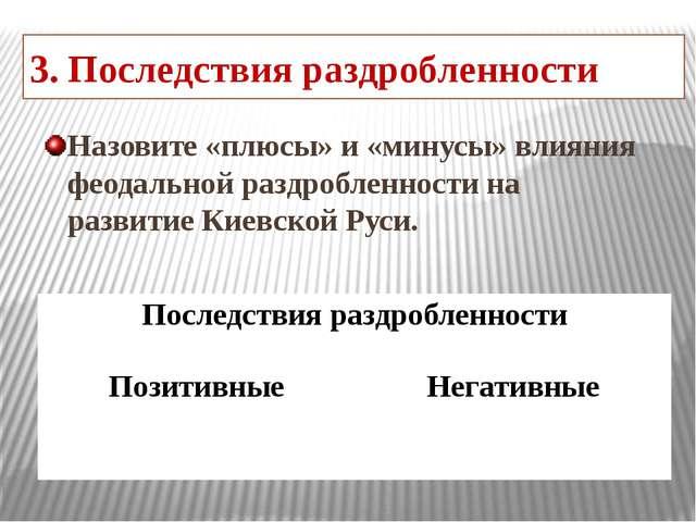 3. Последствия раздробленности Назовите «плюсы» и «минусы» влияния феодальной...